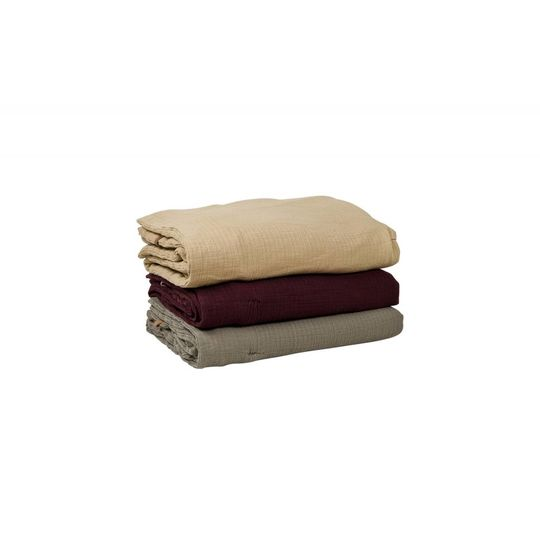 garbo&friends burgundy red muslin filled blanket 100x140 cm