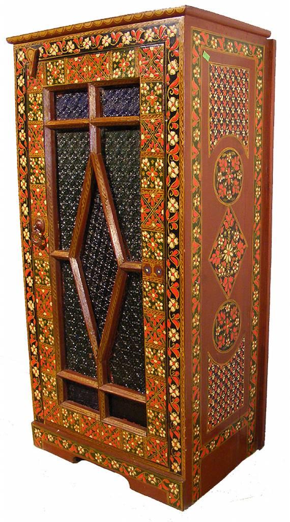 antik kommode schrank mit farbigem glas orientart. Black Bedroom Furniture Sets. Home Design Ideas