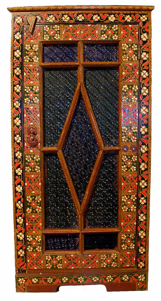 antik Kommode Schrank mit Farbigem Glas