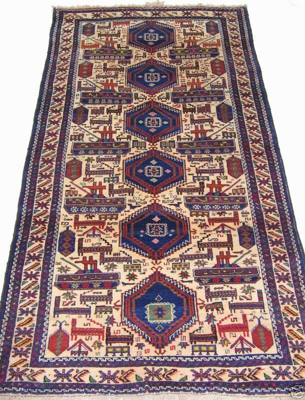 208 x 108 cm original  Kriegsteppich aus Afghanistan – handgeknüpft. Nr.46
