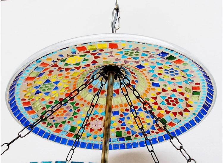 sehr große Mosaik Bell Jar Glas lampe Nr:12