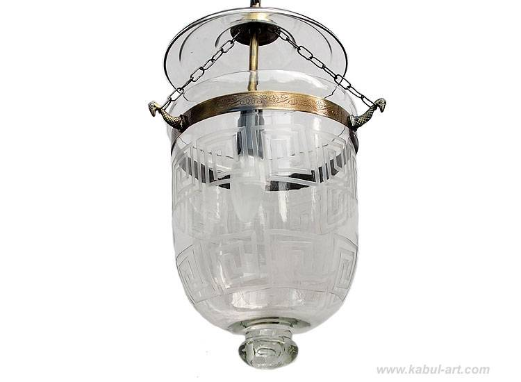 Mosaik Bell Jar Glas lampe Greek Key