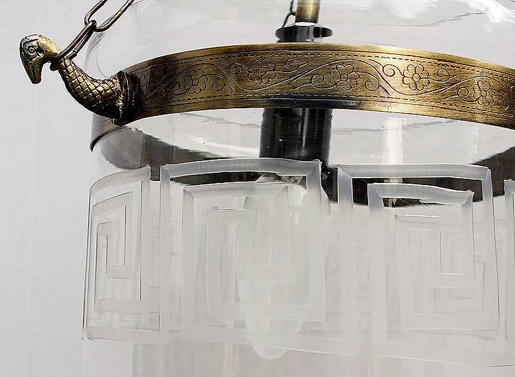 Mosaik Bell Jar Glas lampe Greek Key