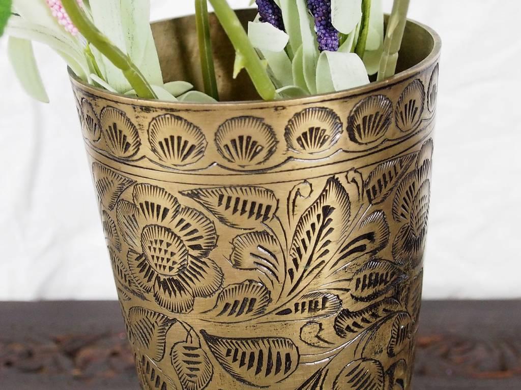 antike Messing Blumenvase Becher Nr:16/C