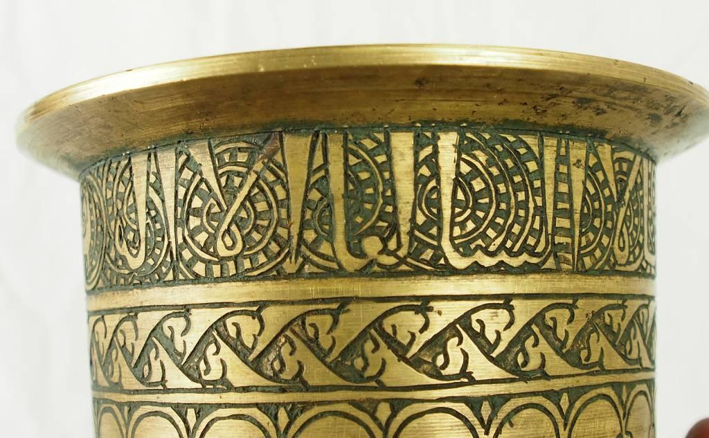 Massiv islamische Messing Mörser mit Pestill Stößel und Kufi Schrift Nr:16/C