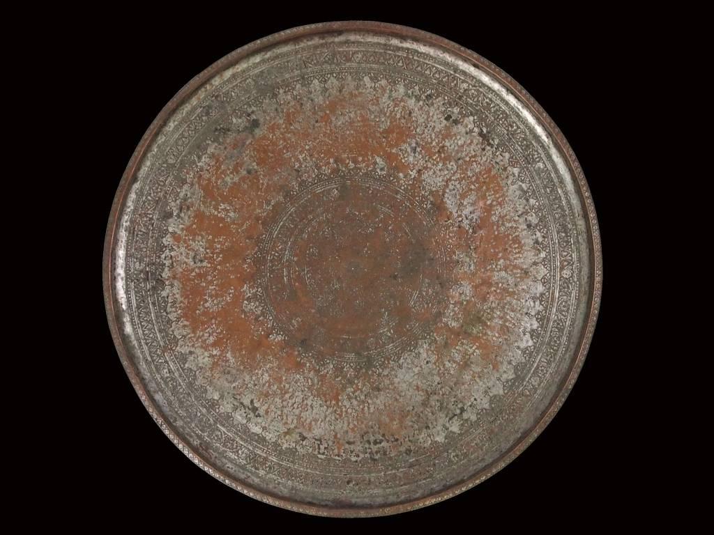 antik Massiv osmanische Kupfer tablett No:16/5