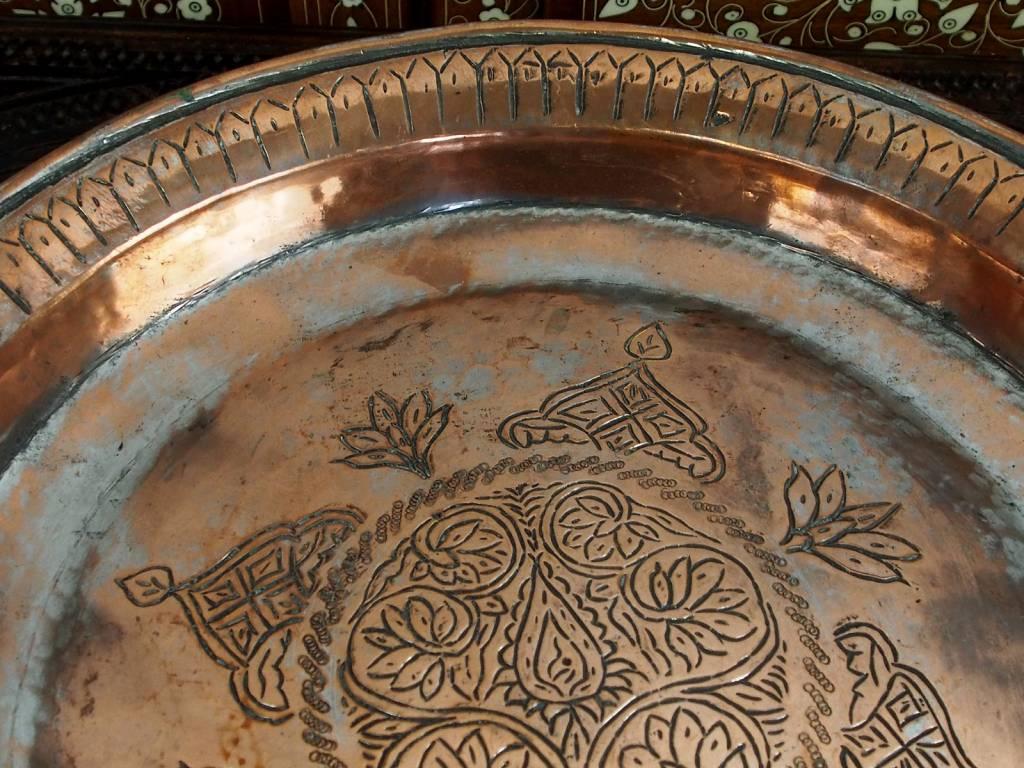 38 cm antik Massiv Kupfer Teller Tablett No:K26