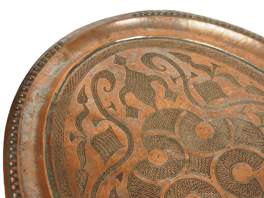 48x37 cm antik Massiv Kupfer Teller Tablett No:K28