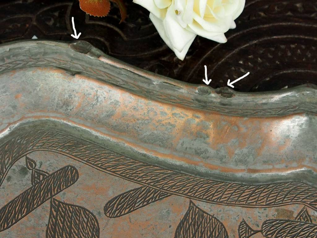 55x40 cm antik Massiv Kupfer Teller Tablett No:K30