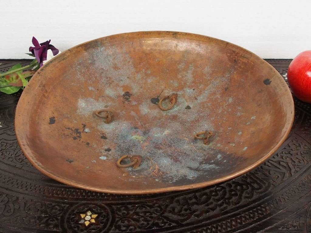 antik Massiv Kupfer Teller Kampfschild No:K31