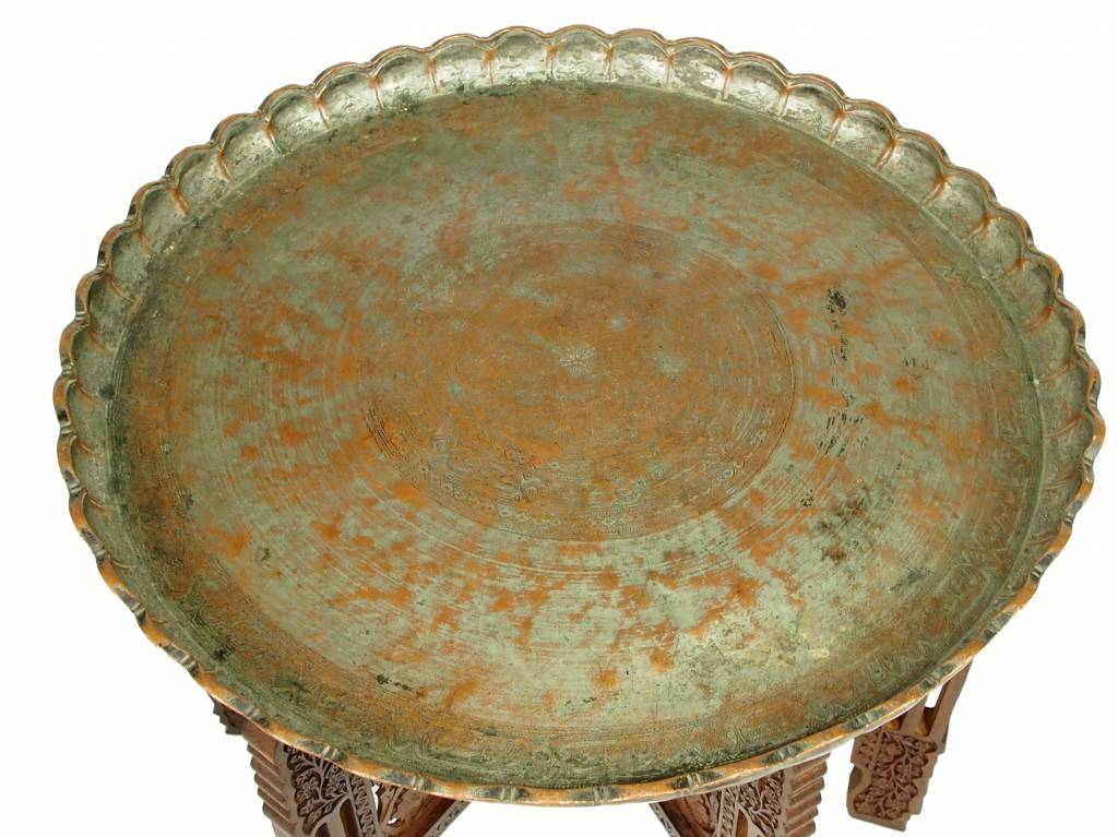 60 cm  Ø antik Kupfer Teetisch No:16/22