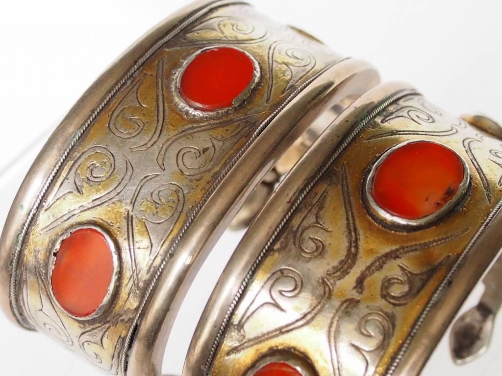ein Paar Antik Turkmenische Tekke - Silber Armreif  (Bilezik) Nr:17/489