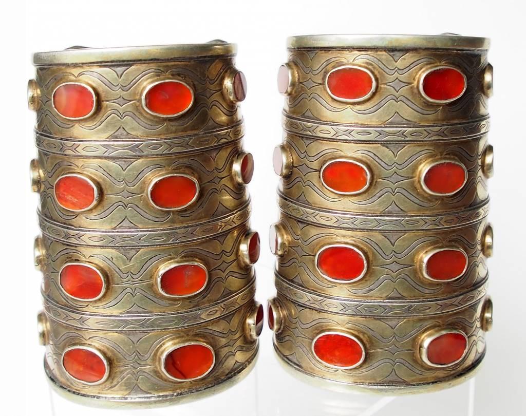 ein Paar Antik Turkmenische Tekke - Silber Armreif  (Bilezik) Nr:17/500