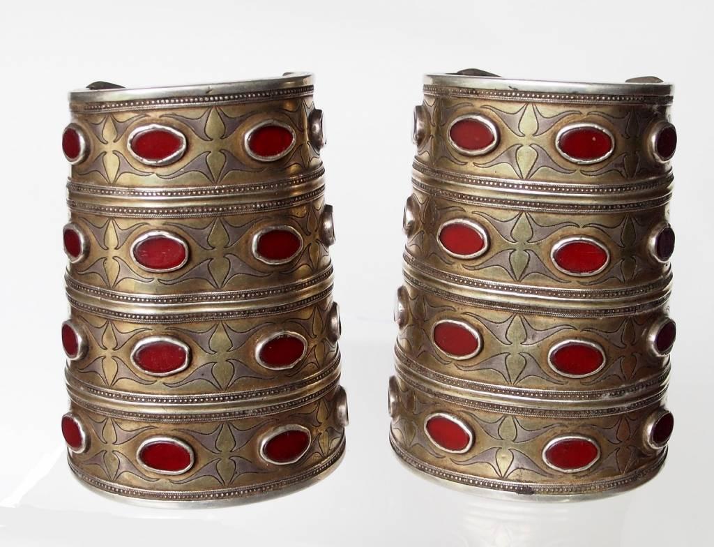 ein Paar Antik Turkmenische Tekke - Silber Armreif  (Bilezik) Nr:17/501