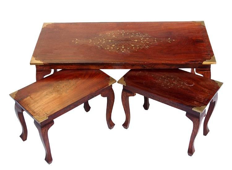 3er set antik look orient 1x couchtisch 2x beistelltisch tisch table messing home orientart. Black Bedroom Furniture Sets. Home Design Ideas