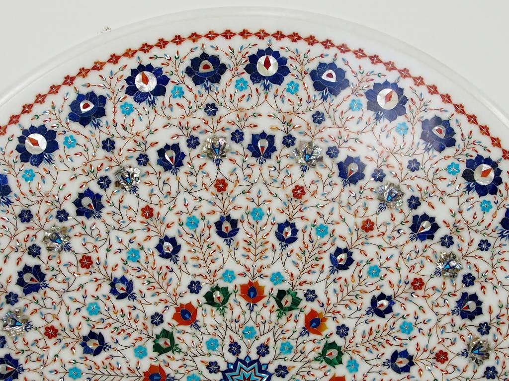 90 cm Marmor Pietra Dura Couchtisch Tisch Florentiner Mosaik Intarsienarbeit wohnzimmertisch (weiss)