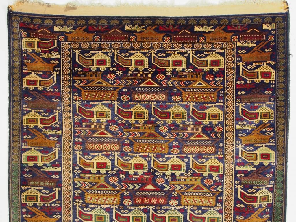 207x118 cm originell old Afghan Warrug Kriegteppich Afghanistan orientteppich No:14/1