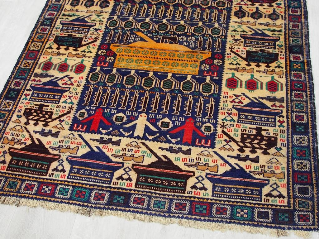 6,9x3,8 ft unique genuine old nomadic Afghan Warrug Afghanistan Kriegteppich NR:17/2