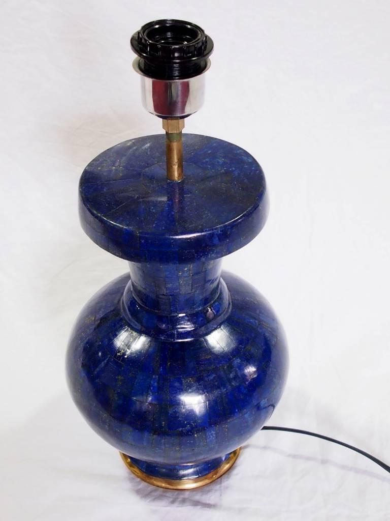ein Paar sehr seltene 65 cm große Paar Afghanische Extravagant Exclusive Royal blau echt Lapis Lazuli Tischlampe Lampe aus Afghanistan (M)