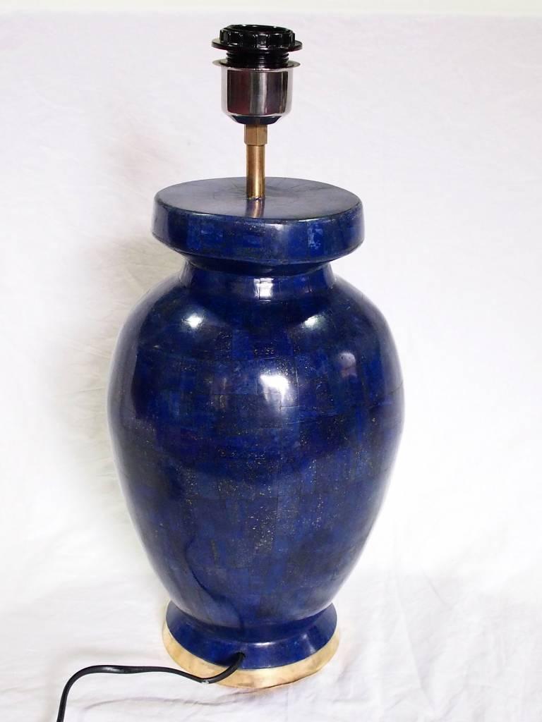ein Paar sehr seltene 70 cm große Paar Afghanische Extravagant Exclusive Royal blau echt Lapis Lazuli Tischlampe Lampe aus Afghanistan (L)