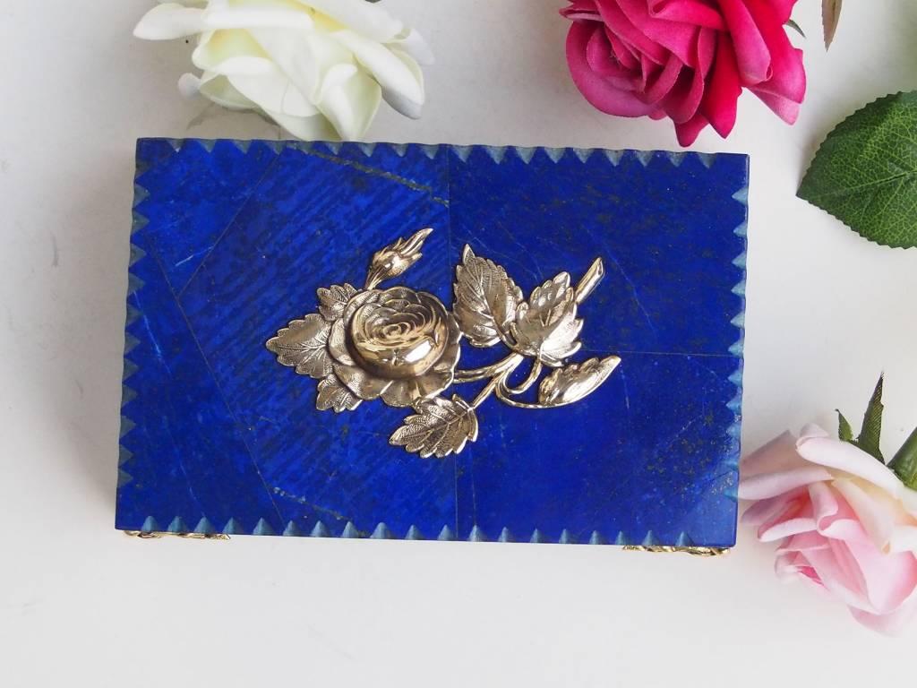 Extravagant Royal blau echt Lapis lazuli büchse Schmuck Dose schatulle Gefäß Pillen Dose aus Afghanistan Nr-18/A