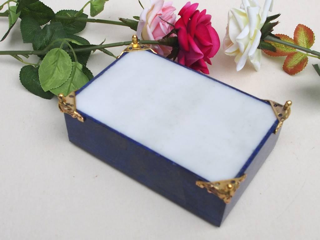 Extravagant Royal blau echt Lapis lazuli büchse Schmuck Dose schatulle Gefäß Pillen Dose aus Afghanistan Nr-18/D