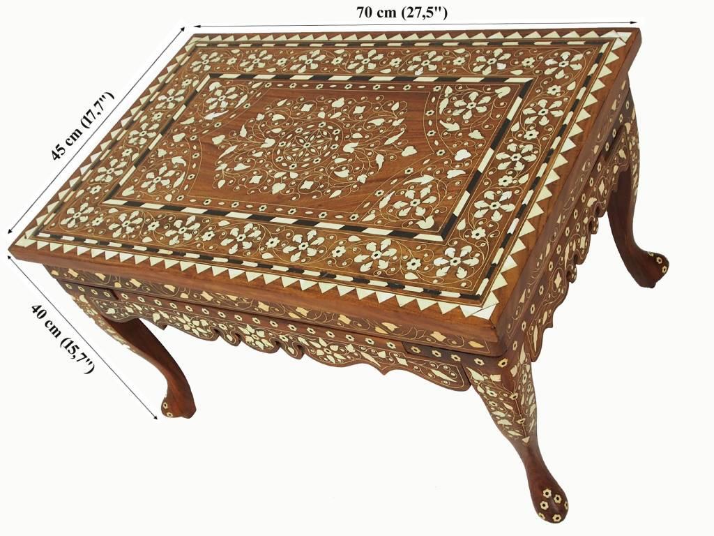 70x50 cm antik Massiv Naturholz orient indische anglo Tisch Beistelltisch couchtisch wohnzimmertisch Hocker Teetisch mit Einlegearbeit