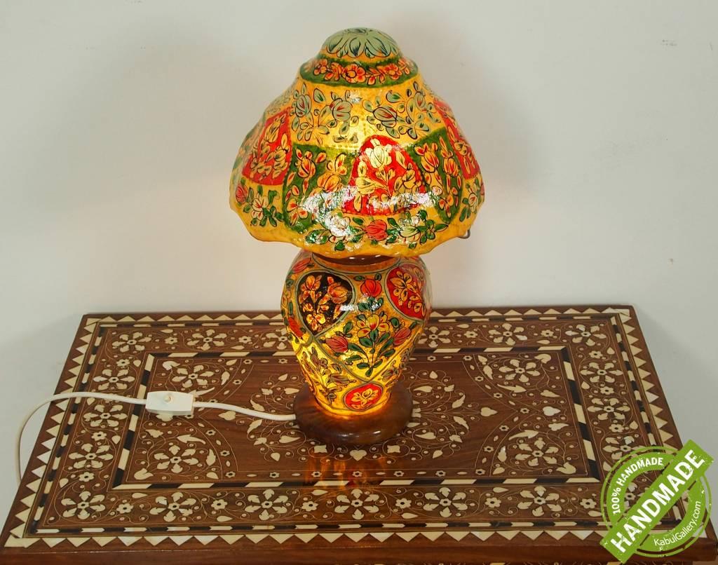 orientalische handbemalte Lampe Kamelleder Tischlampe Nachttischlamp Tischleuchte Nachtlampe Stehleuchte Handarbeit aus Multan Pakistan 18/ 9