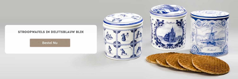 Stroopwafels in Delftsblauw blik
