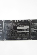 Stencils & Stickers 1 Dataplates Willys MB