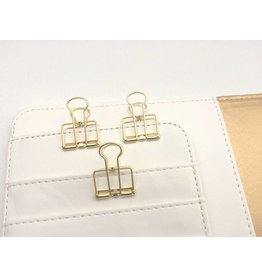 3x Binder Clips Gold 19mm