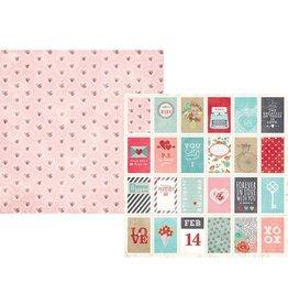 Simple Stories Hugs & Kisses, Love Letter Cardstock 12x12
