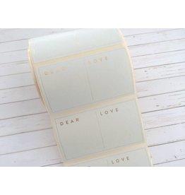 10 Aufkleber  Dear ... Love ... Hellblau-Gold