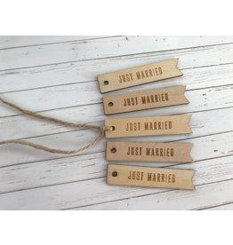5x Geschenkanhänger aus Holz   Just Married