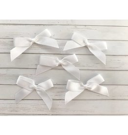 5x selbstklebende Satinschleifen  Weiß