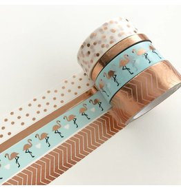 Washi Tape Set Copper Flamingo