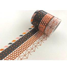 Washi Tape Set Geometric Kupfer