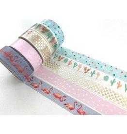 Paper Poetry Washi Tape Set Tropical Spring Flamingo