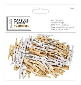 Papermania 50x Mini Holz Wäscheklammern Metallics