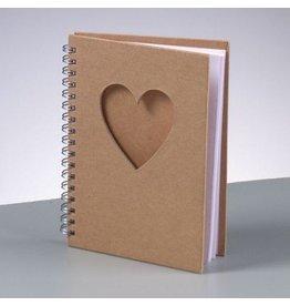 Kraftpapier A6 Spiral Notizbuch mit Herzausschnitt