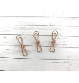 3x Binder Clips Rosegold 32mm lang