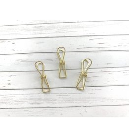 3x Binder Clips Gold 32mm lang