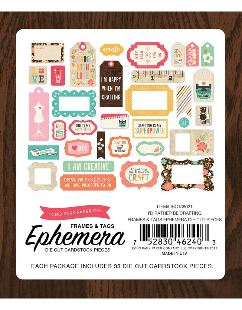 Echo Park I`d rather be crafting Tags & Frames von Echo Park