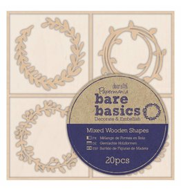 Papermania 20x Wooden Shapes  - Bare Basics - Wreaths