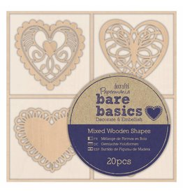 Papermania 20x Wooden Shapes  - Bare Basics - Filigree Hearts