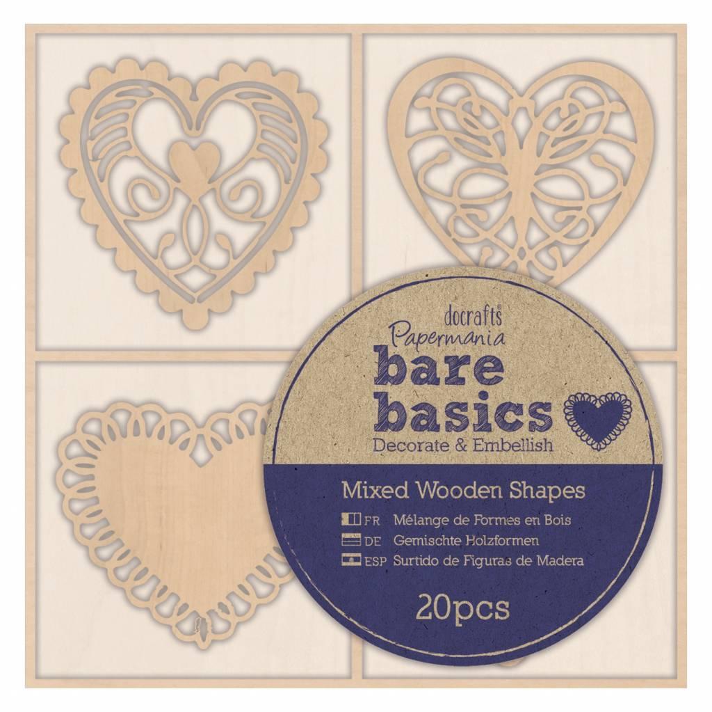 Papermania 20x Wooden Shapes  - Bare Basics - Filigree Hearts