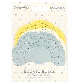 30x Spitzendeckchen aus Papier Baby Steps