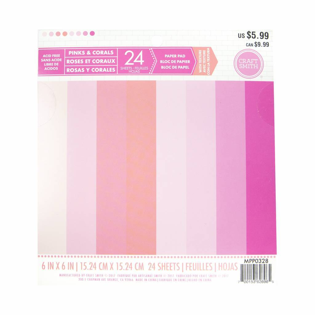 Craft Smith Craft Smith Pinks & Corals Paper Pad 6x6