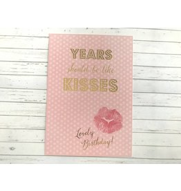 Postkarte mit Goldfolie Birthday Kisses