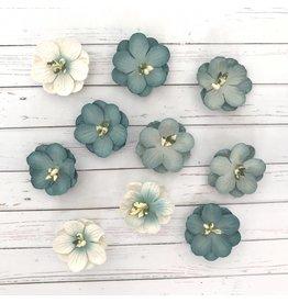 10 Blüten aus Maulbeerpapier Blau
